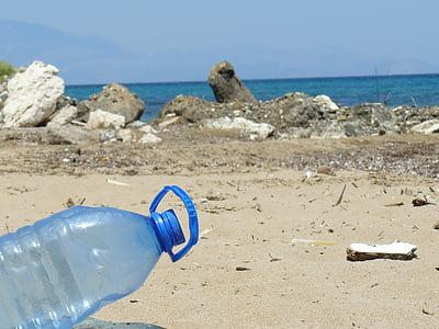 塑料瓶, 瓶, 海滩, 海, 污染, 塑料, 垃圾