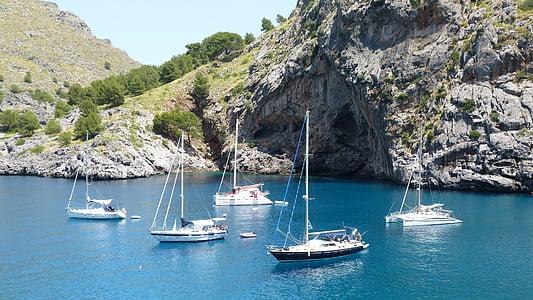 кораблі, якір, Анкорідж, Плаваючий човен, вод, Ідилія, Середземноморська