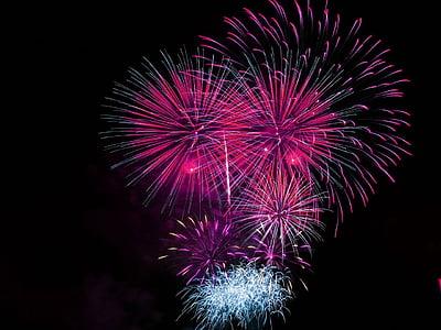 tűzijáték, ünnepe, világos, rózsaszín, robbanásveszélyes, ünnepelni, kijelző