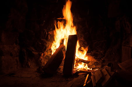 llar de foc, foc, fusta, cremar, incendi, flama, llar de foc
