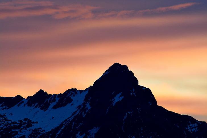 muntanya, cim de la muntanya, cel, natura, neu