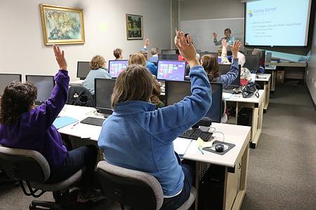 classroom, computer, technology, training, classmates, computer class, learning