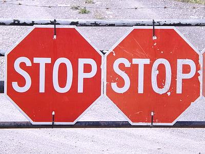 parada, aturar, senyal de trànsit, signe, vermell, símbol, Avís