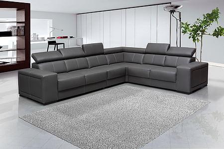 sofos, interjero dizainas, palikdama, baldai, pilka, kiliminė danga, odos