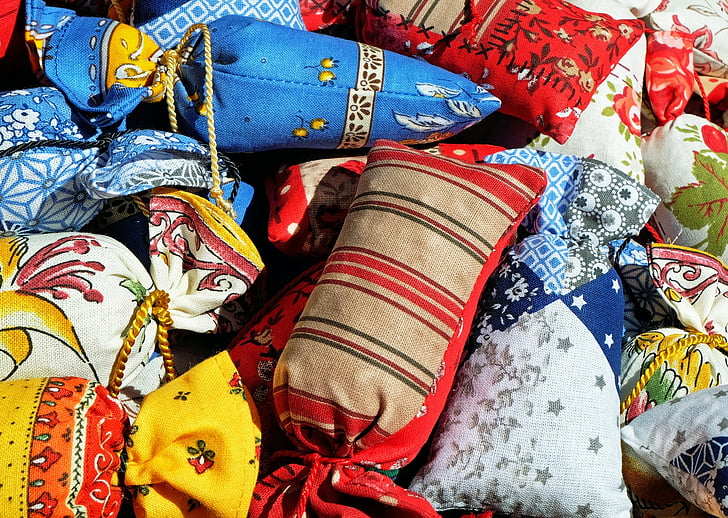 bossa, sachet perfumades, colors, llenç, cultures, tèxtil, múltiples colors