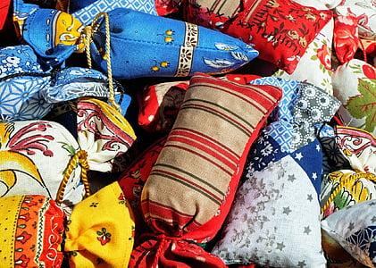 taška, voňavé vrecúško, farebné, plátno, kultúr, textilné, viac farebné
