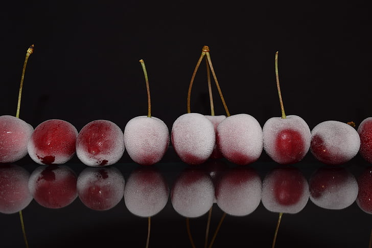 cherries, red, close, mirroring, frosted, frozen, delicious