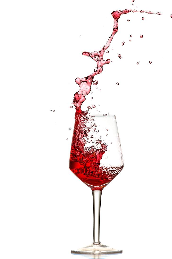 vörös bor, Splash, Öntsük ki, spray, borospohár, szemüveg, folyadék