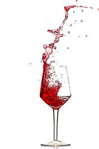 punane vein, Splash, valada, spray, veini klaasi, prillid, vedelik