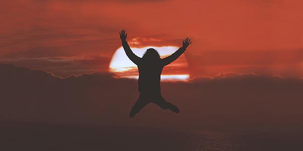 folk, hoppe, silhuett, solnedgang, skyer, himmelen, natur
