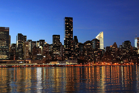 new york, city, skyline, night, lights, river, architecture