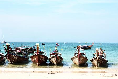 Tailàndia, platja, embarcacions de pesca, embarcacions, sol, l'aigua, Mar