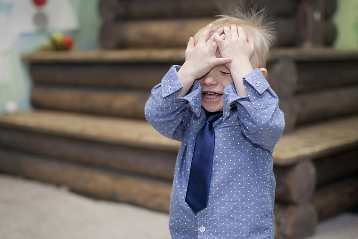 boy covering face, boy, tie, hands, emotions, baby, person
