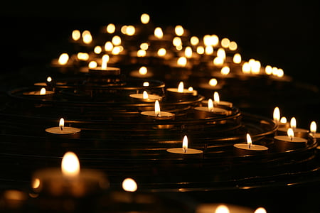 candlelights, candles, dark, flames, illuminated, light, flame