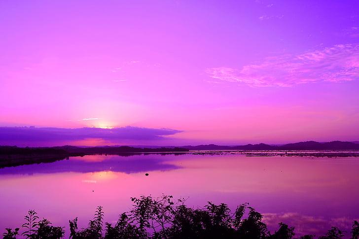 fotografia, corpo, água, -de-rosa, céu, nuvens, montanha