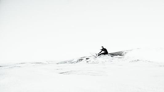 gråskala, Foto, oceanerna, våg, havet, Ocean, vatten