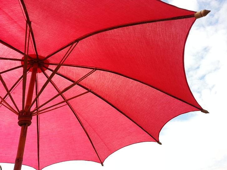 umbrella, sky, red, asia