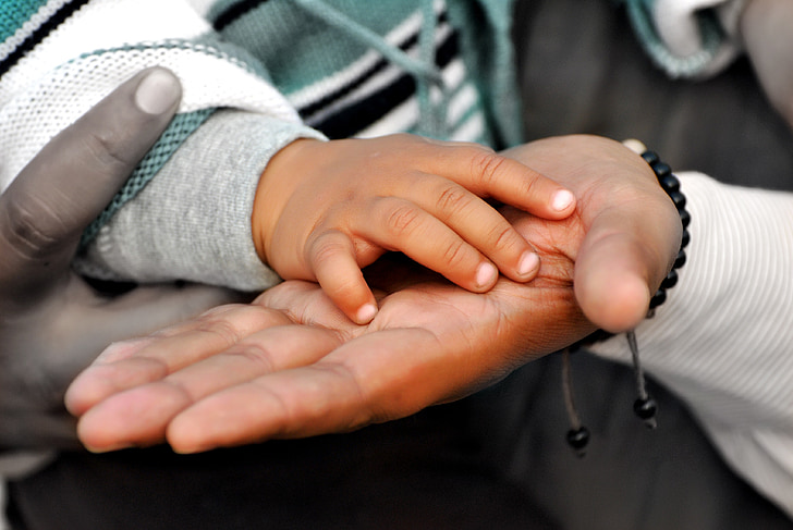 mans, mà, l'atenció, pare, nen, família, obligat