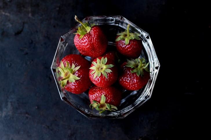 strawberries, food, eat, fruits, bowl, pile, stack