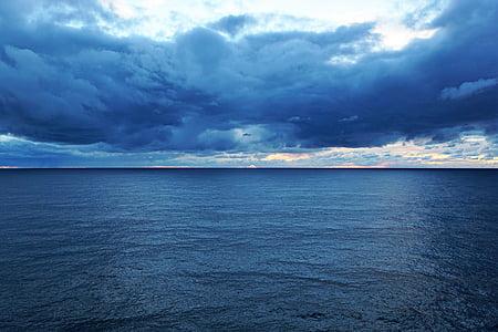 nebo, Ocean, Atlantika, jezero, vode, modra, oblaki