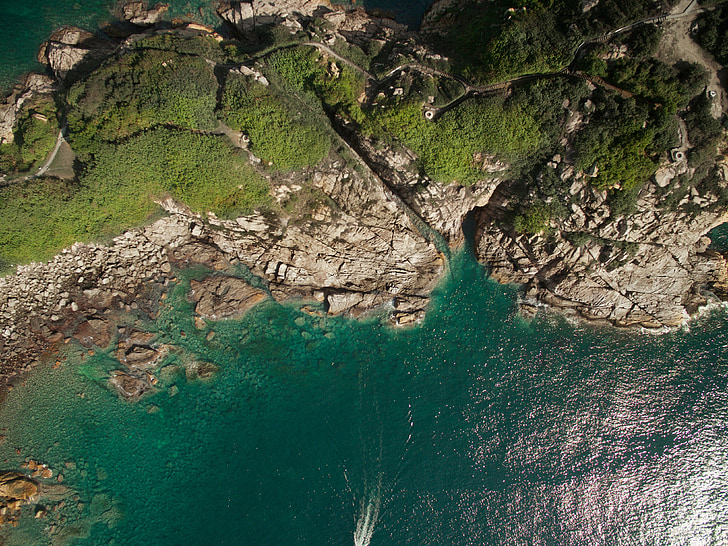 aerial photography, top view, nature, water, land, sea