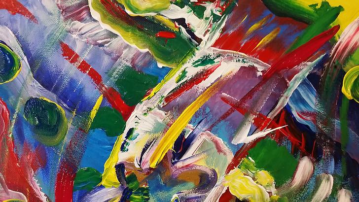 art abstracte, Art, obres d'art, colors, vius, pintura, múltiples colors