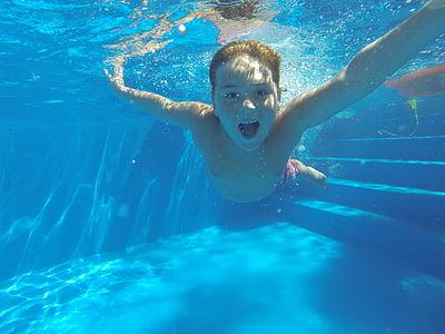l'estiu, Natació, piscina, Tadeo, sota l'aigua, l'aigua, nens només
