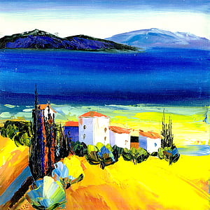 pintura d'oli, el paisatge, platja, natura, paisatge, representacions, muntanya