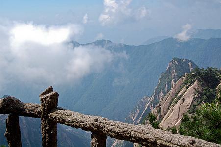 china, mountain, clouds, huangshan
