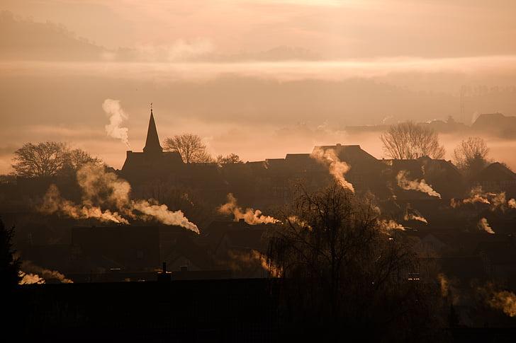salida del sol, paisaje, morgenrot, niebla, luz de nuevo, aldea