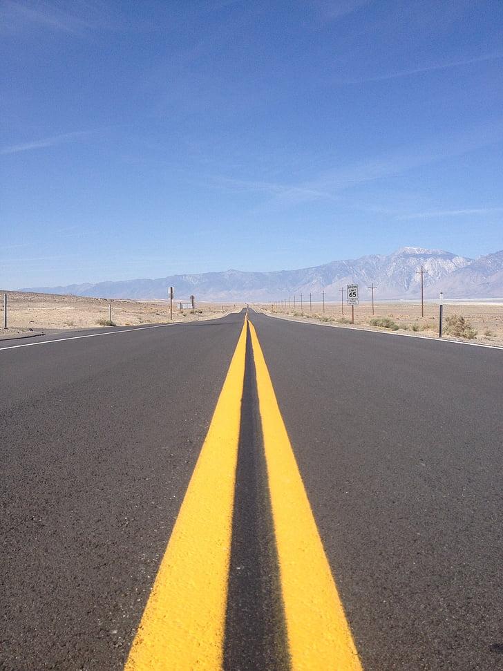 пътища, безкраен път, Америка, път, асфалт, пустиня, магистрала