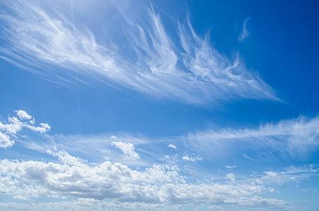 Sky, bleu, Nuage, nuageux, arrière-plan, météo, ensoleillée