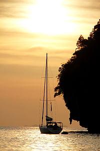 solnedgång, Boot, segelbåt, havet, Mallorca, humör, vatten