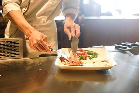 Restaurant, cuina, xef, cuina, aliments, professional, preparació