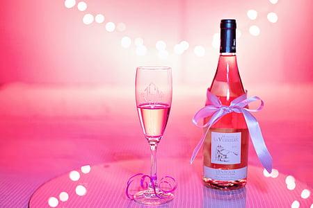 rozā vīns, šampanieša, svinības, rozā, Valentīna diena, kāzas, persona