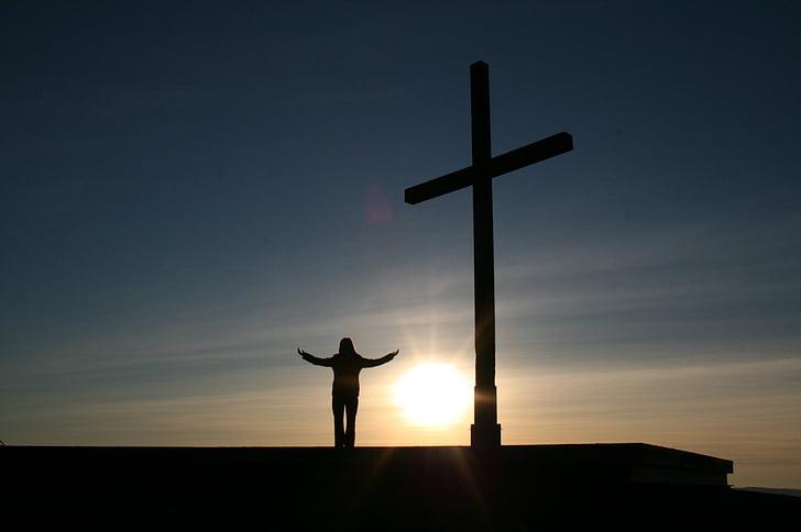 osoba, klinika, kríž, náboženstvo, západ slnka, ľudské, Boh