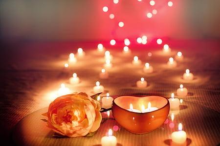 stearinlys, Valentine, Valentinsdag, tændte stearinlys, glød, Romance, romantisk