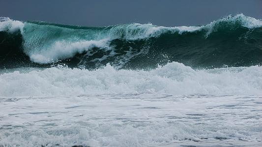 bølge, Smashing, vind, Storm, sjøen, vann, kysten