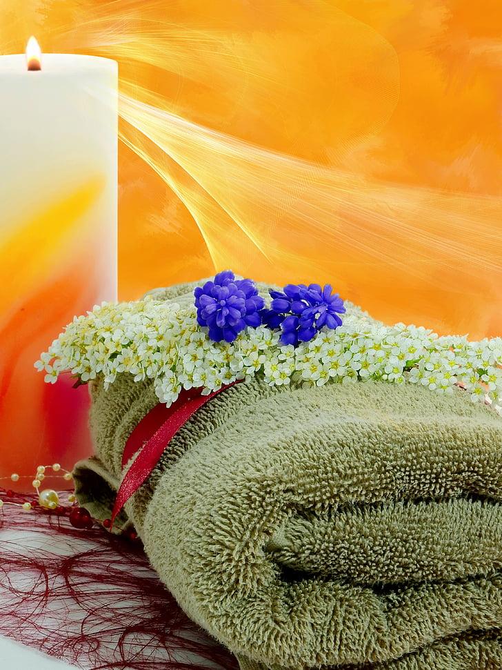 Blume, Deko, Dekoration, Anlage, Kerze, Handtuch, Wellness