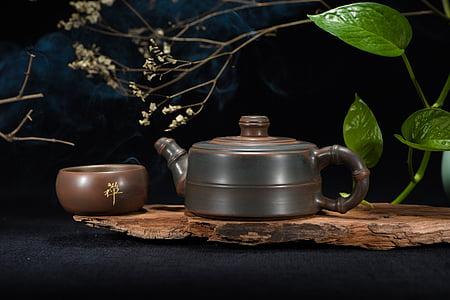 set da tè, Teiera, fotografia di still life, Cerimonia del tè, senza persone, tavolo, albero