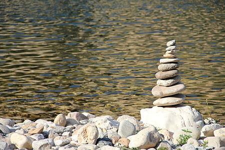 pedra, pila, còdols, pila, equilibri, munt, forma