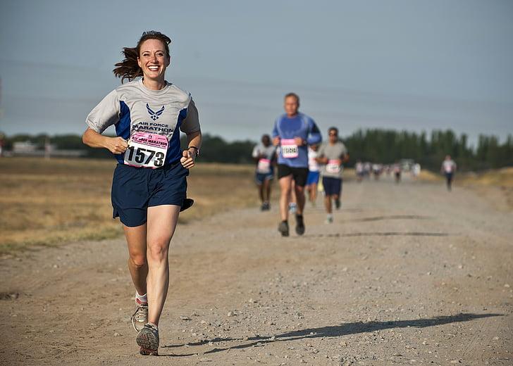 corredor, cursa, competència, femella, atleta, Marató, actiu
