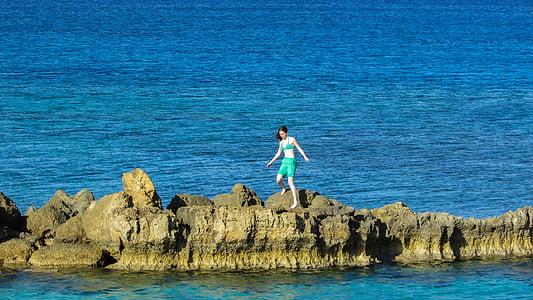 jeune fille, Rock, jeune, femelle, en plein air, activité, vacances