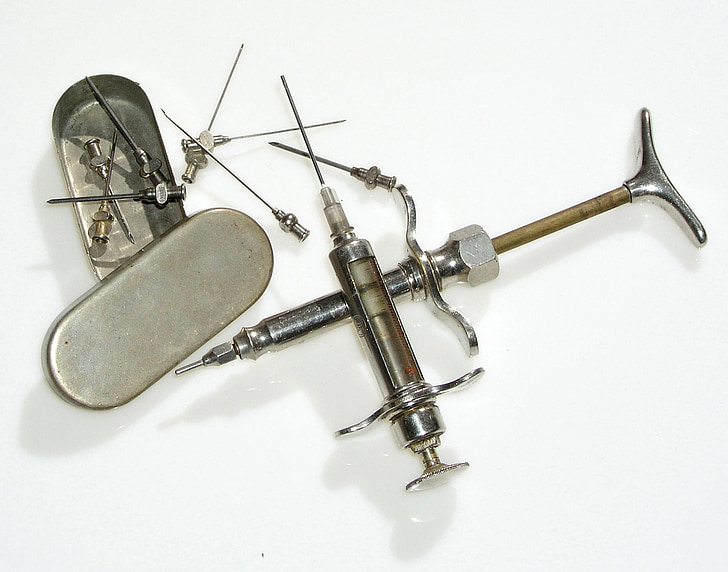 antic esquitx, injectar, injecció, plata, vell, et beneeixi, mèdica