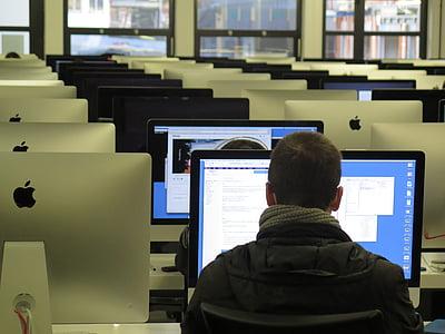 arbete, skolan, undervisa, utbildning, dator, teknik, datorskärm