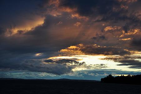 호수, abendstimmung, 구름, 폭풍 후, 저녁 하늘, 콘스탄스 호수