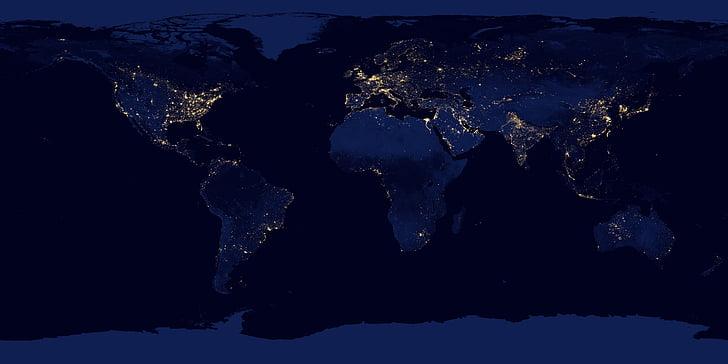 NASA, Terre, carte, nuit, Sky, océan, ville