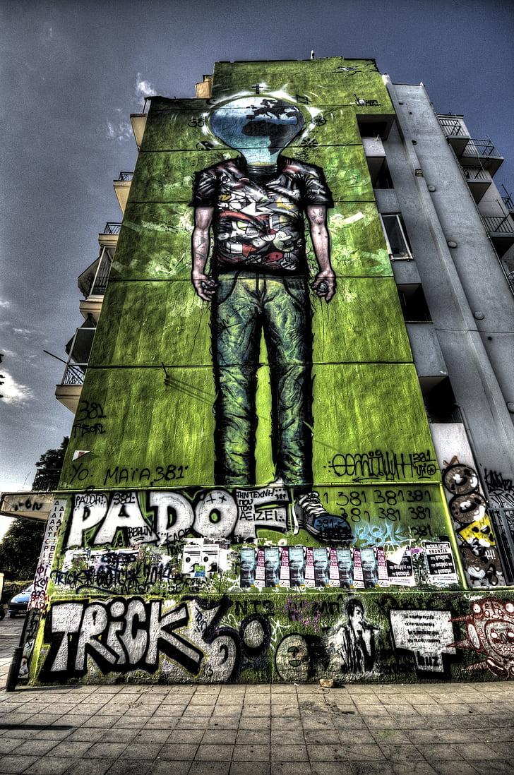 Graffiti, costruzione, HDR, Grecia, calcestruzzo, urbano, città