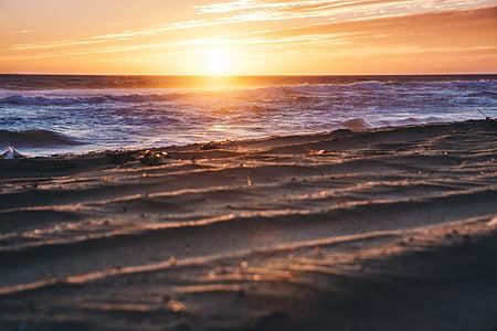 Seashore, solnedgång, Foto, havet, Ocean, vatten, vågor