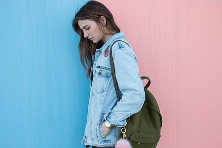 blau, texana, jaqueta, roba, moda, bossa, motxilla